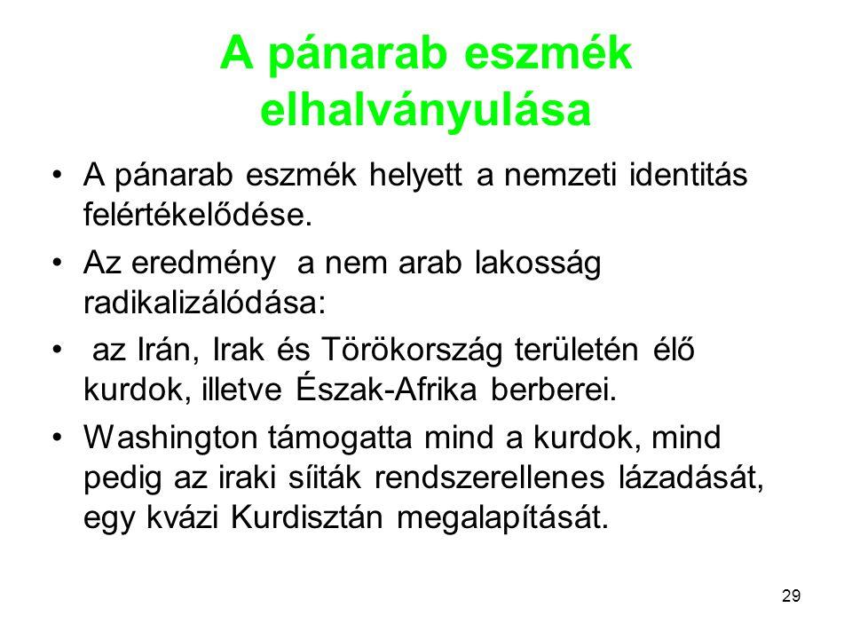 29 A pánarab eszmék elhalványulása •A pánarab eszmék helyett a nemzeti identitás felértékelődése. •Az eredmény a nem arab lakosság radikalizálódása: •