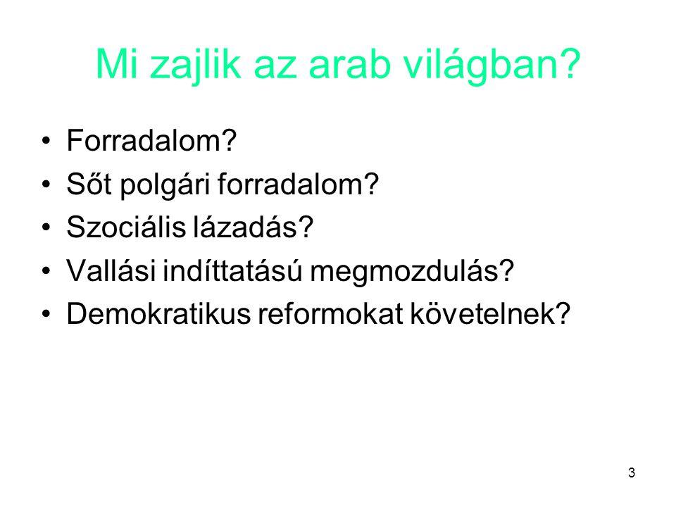 3 Mi zajlik az arab világban? •Forradalom? •Sőt polgári forradalom? •Szociális lázadás? •Vallási indíttatású megmozdulás? •Demokratikus reformokat köv