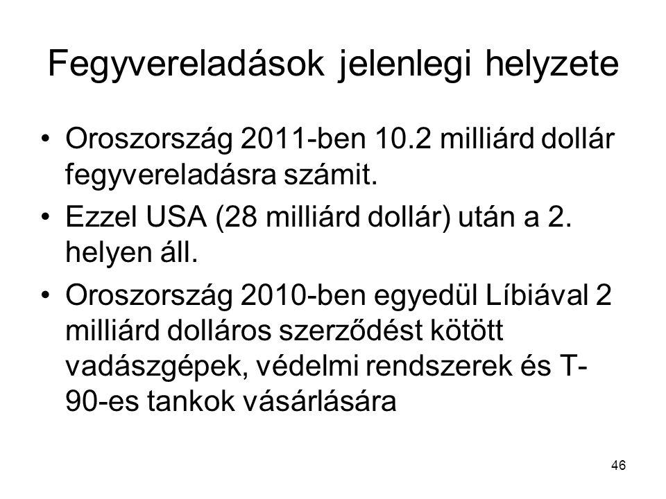 46 Fegyvereladások jelenlegi helyzete •Oroszország 2011-ben 10.2 milliárd dollár fegyvereladásra számit. •Ezzel USA (28 milliárd dollár) után a 2. hel
