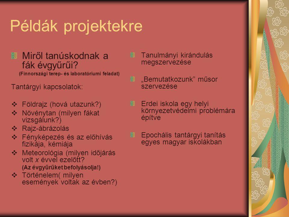 Példák projektekre Miről tanúskodnak a fák évgyűrűi? (Finnországi terep- és laboratóriumi feladat) Tantárgyi kapcsolatok:  Földrajz (hová utazunk?) 