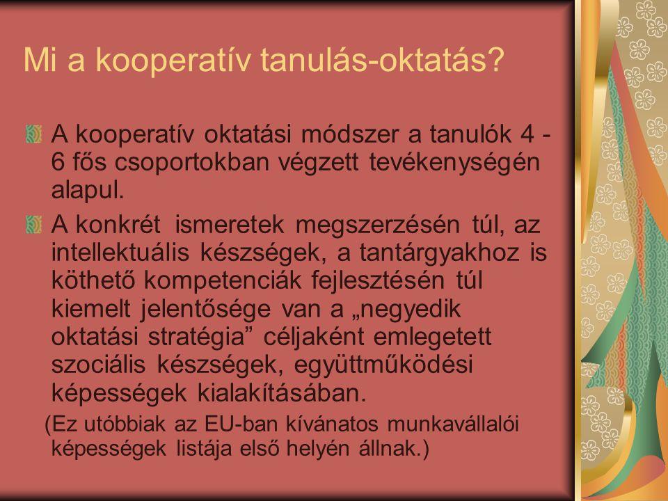 Mi a kooperatív tanulás-oktatás? A kooperatív oktatási módszer a tanulók 4 - 6 fős csoportokban végzett tevékenységén alapul. A konkrét ismeretek megs