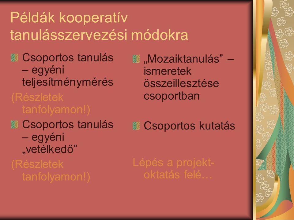 """Példák kooperatív tanulásszervezési módokra Csoportos tanulás – egyéni teljesítménymérés (Részletek tanfolyamon!) Csoportos tanulás – egyéni """"vetélked"""