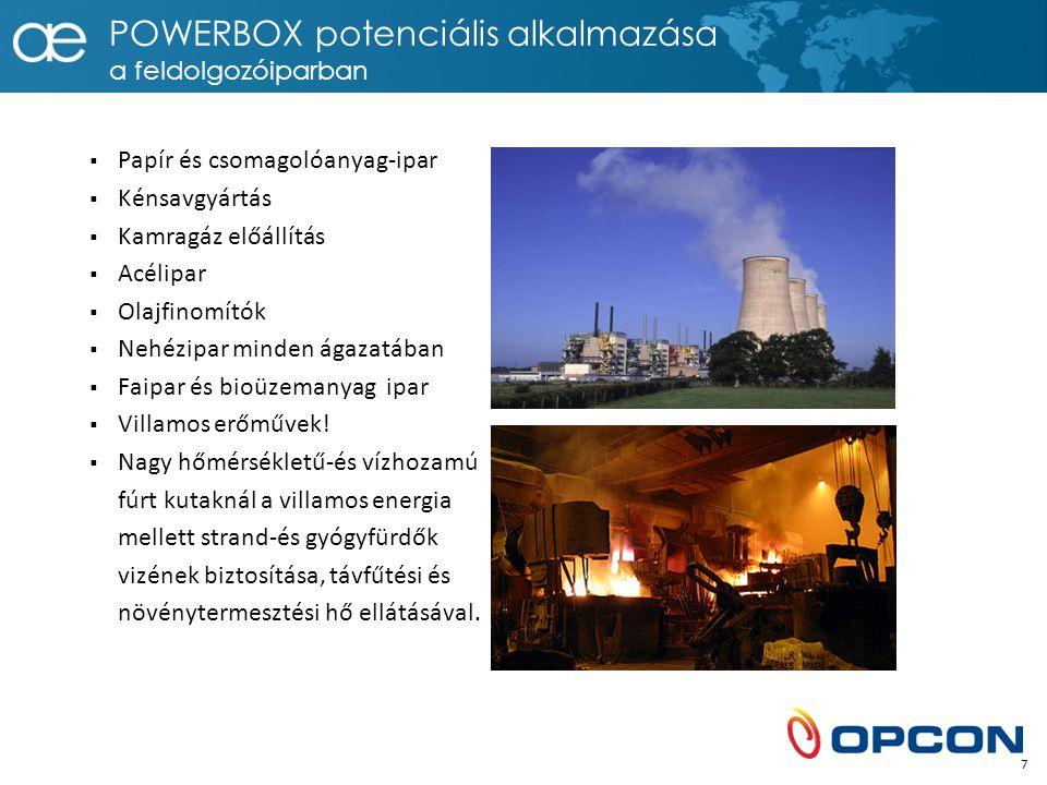 POWERBOX potenciális alkalmazása a feldolgozóiparban  Papír és csomagolóanyag-ipar  Kénsavgyártás  Kamragáz előállítás  Acélipar  Olajfinomítók  Nehézipar minden ágazatában  Faipar és bioüzemanyag ipar  Villamos erőművek.
