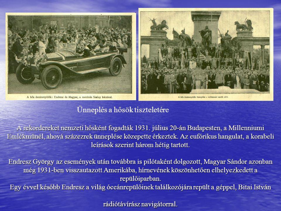A rekordereket nemzeti hősként fogadták 1931. július 20-án Budapesten, a Millenniumi Emlékműnél, ahová százezrek ünneplése közepette érkeztek. Az eufó