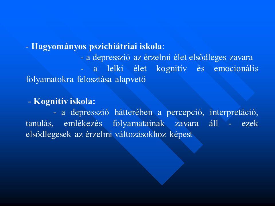 - Hagyományos pszichiátriai iskola: - a depresszió az érzelmi élet elsődleges zavara - a lelki élet kognitív és emocionális folyamatokra felosztása al