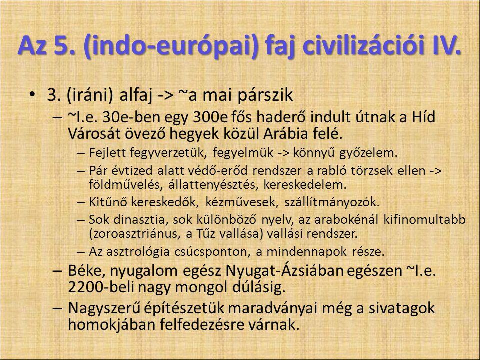 • 3. (iráni) alfaj -> ~a mai párszik – ~I.e. 30e-ben egy 300e fős haderő indult útnak a Híd Városát övező hegyek közül Arábia felé. – Fejlett fegyverz