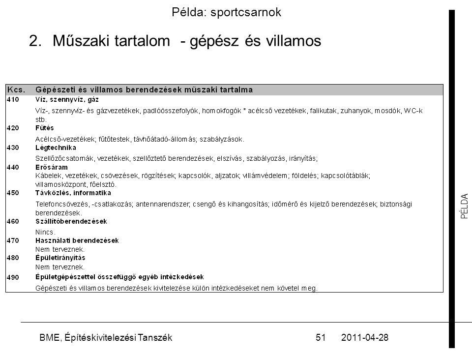 PÉLDA 2011-04-28BME, Építéskivitelezési Tanszék51 Példa: sportcsarnok 2.Műszaki tartalom - gépész és villamos