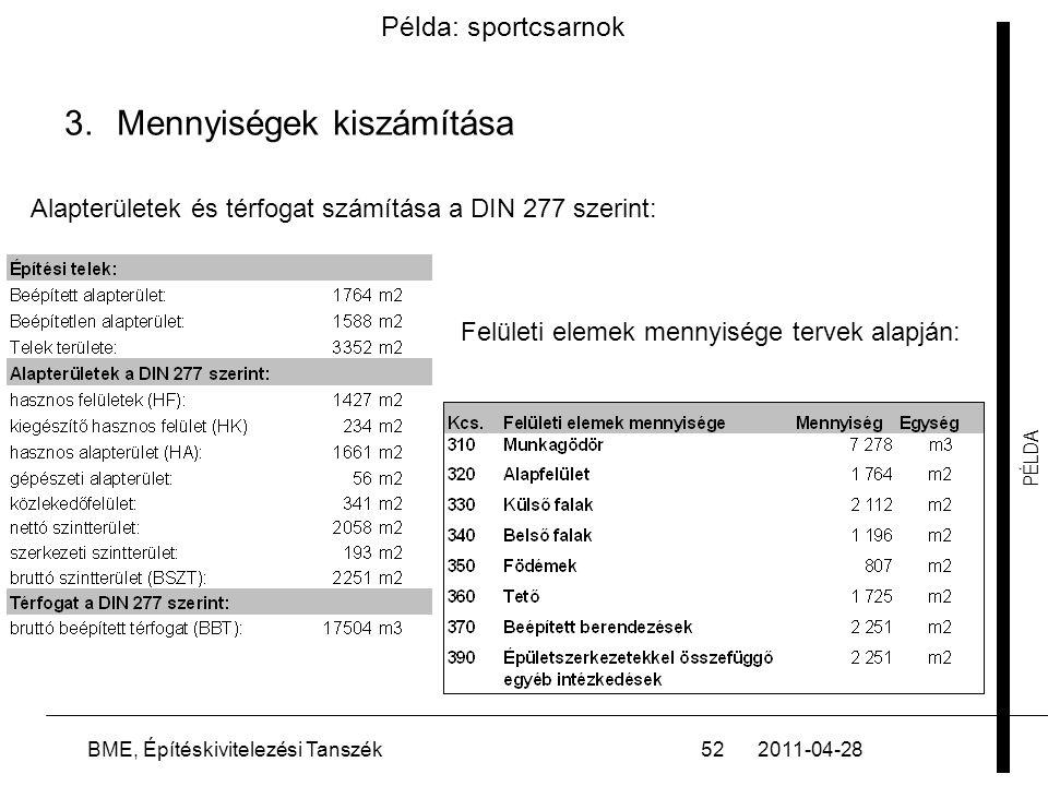 PÉLDA 2011-04-28BME, Építéskivitelezési Tanszék52 3.Mennyiségek kiszámítása Példa: sportcsarnok Alapterületek és térfogat számítása a DIN 277 szerint: