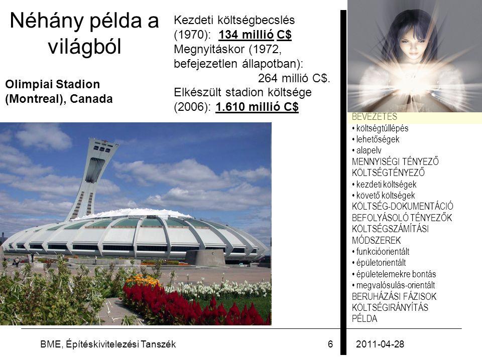 PÉLDA 2011-04-28BME, Építéskivitelezési Tanszék57 Példa: sportcsarnok 7.B.) Költségadatok vizsgálata saját épület: