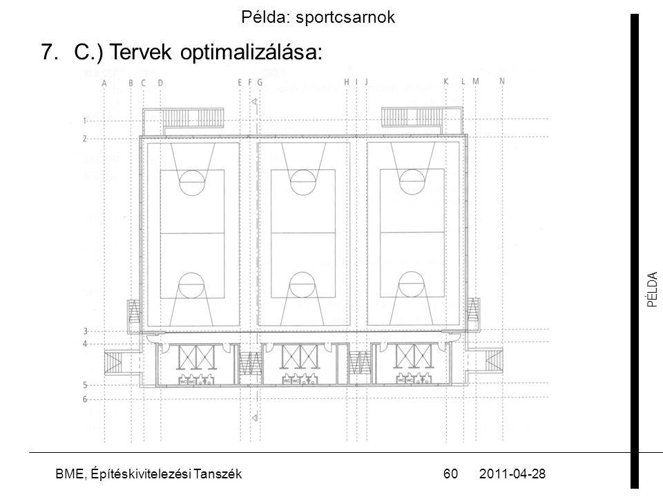 PÉLDA 2011-04-28BME, Építéskivitelezési Tanszék60 Példa: sportcsarnok 7.C.) Tervek optimalizálása: