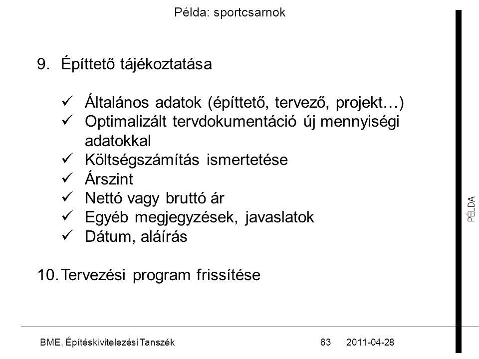PÉLDA 2011-04-28BME, Építéskivitelezési Tanszék63 Példa: sportcsarnok 9.Építtető tájékoztatása  Általános adatok (építtető, tervező, projekt…)  Opti