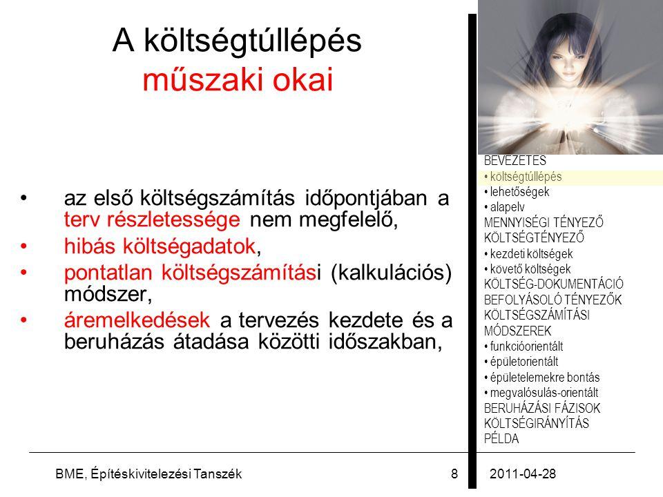 PÉLDA 2011-04-28BME, Építéskivitelezési Tanszék49 Példa: sportcsarnok 1.Terv kiválasztása vagy vázlatterv elkészítése BKI Handbuch (2003) 132 - 167.