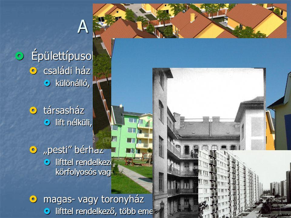 A védhető terület  Épülettípusok és a közösségi kontroll  családi ház  különálló, ún. iker, sorház  társasház  lift nélküli, max. 3-4 emeletes há