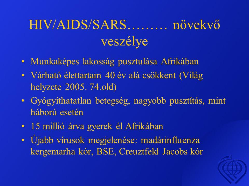 HIV/AIDS/SARS……… növekvő veszélye •Munkaképes lakosság pusztulása Afrikában •Várható élettartam 40 év alá csökkent (Világ helyzete 2005.