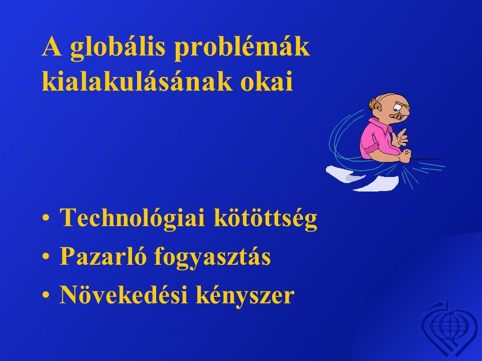 A globális problémák kialakulásának okai •Technológiai kötöttség •Pazarló fogyasztás •Növekedési kényszer