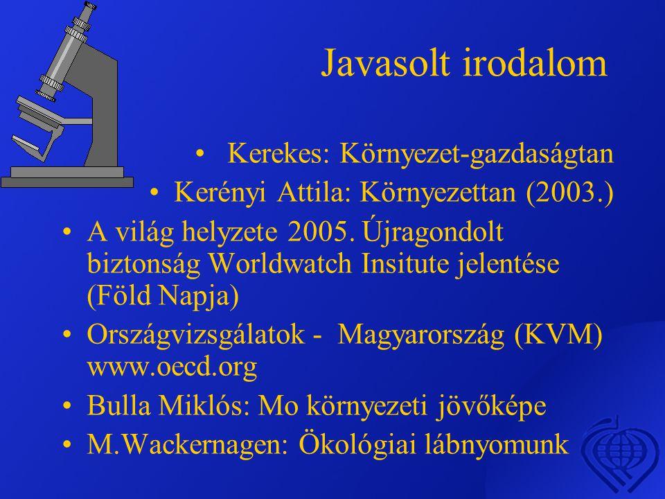Javasolt irodalom • Kerekes: Környezet-gazdaságtan •Kerényi Attila: Környezettan (2003.) •A világ helyzete 2005.
