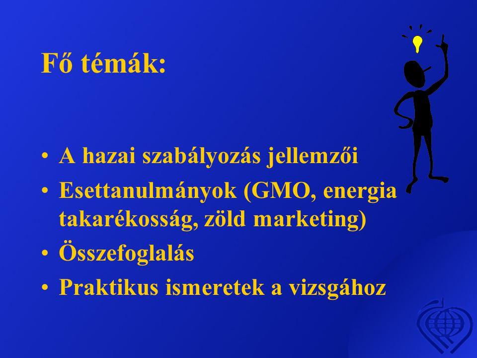 Fő témák: •A hazai szabályozás jellemzői •Esettanulmányok (GMO, energia takarékosság, zöld marketing) •Összefoglalás •Praktikus ismeretek a vizsgához