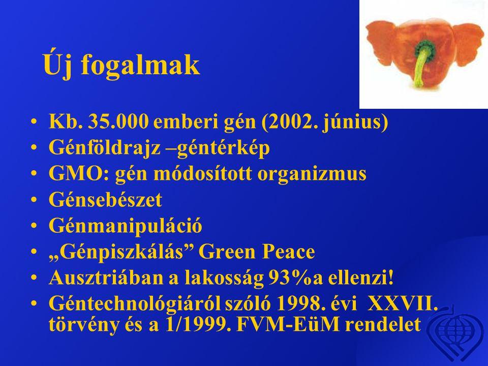 Új fogalmak •Kb.35.000 emberi gén (2002.
