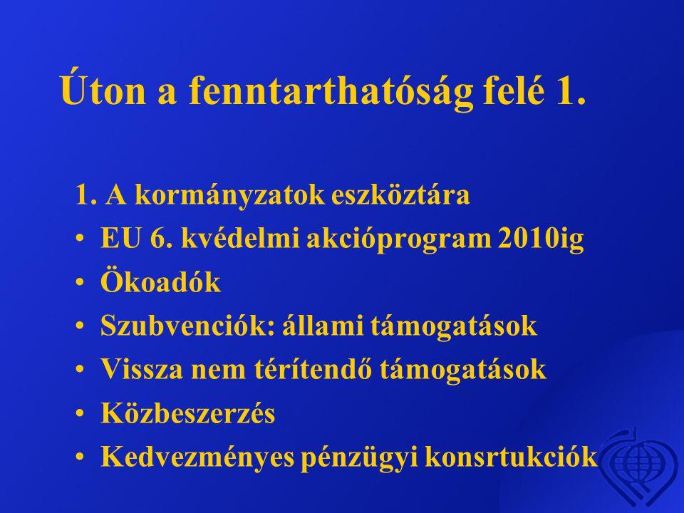Úton a fenntarthatóság felé 1.1. A kormányzatok eszköztára •EU 6.
