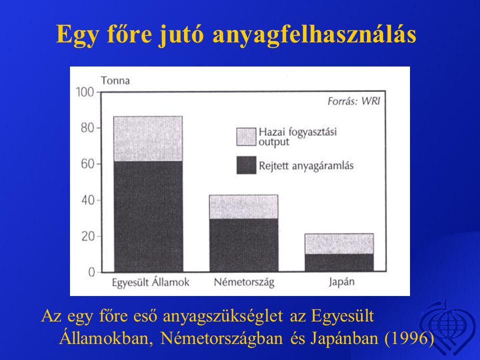 Egy főre jutó anyagfelhasználás Az egy főre eső anyagszükséglet az Egyesült Államokban, Németországban és Japánban (1996)