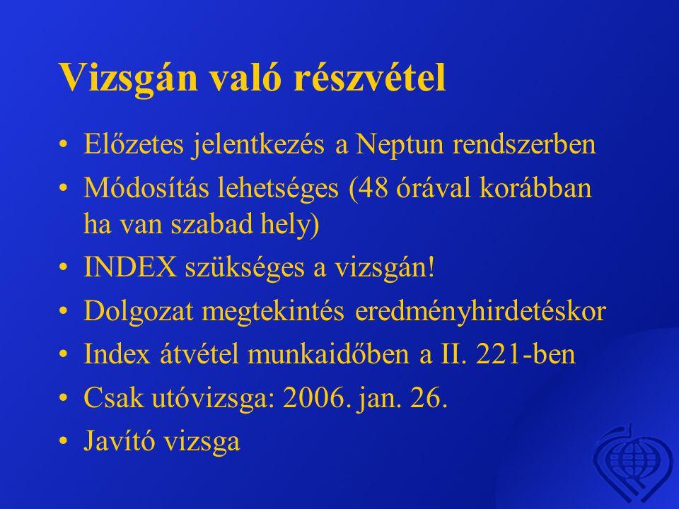 Vizsgán való részvétel •Előzetes jelentkezés a Neptun rendszerben •Módosítás lehetséges (48 órával korábban ha van szabad hely) •INDEX szükséges a vizsgán.