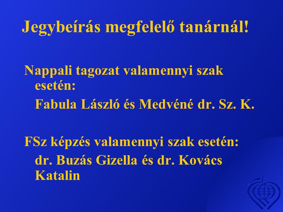 Jegybeírás megfelelő tanárnál.Nappali tagozat valamennyi szak esetén: Fabula László és Medvéné dr.