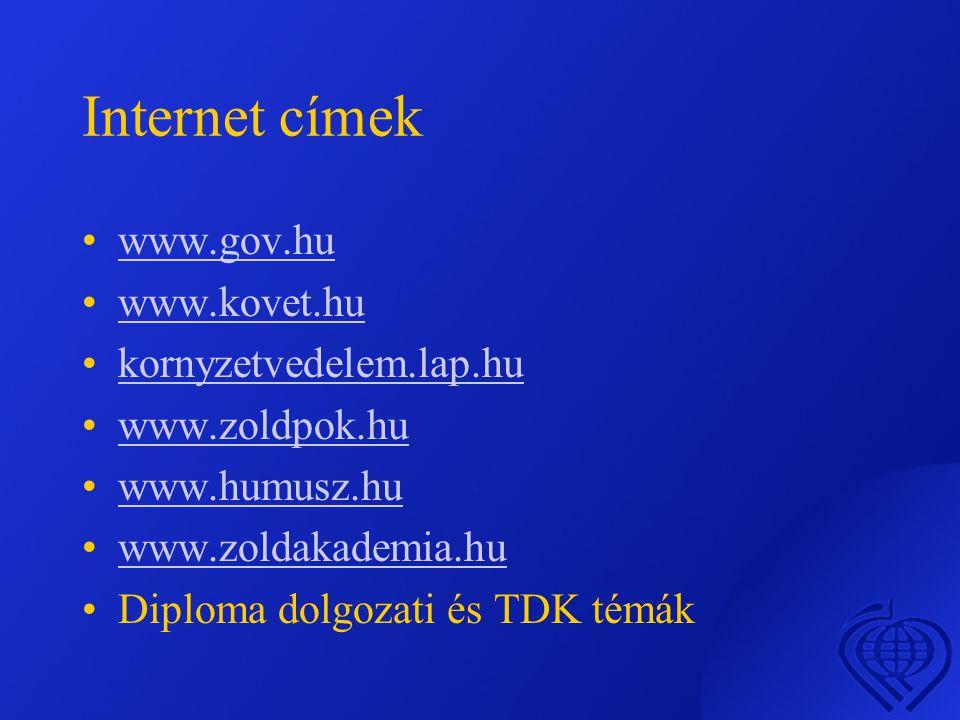 Internet címek •www.gov.huwww.gov.hu •www.kovet.huwww.kovet.hu •kornyzetvedelem.lap.hukornyzetvedelem.lap.hu •www.zoldpok.huwww.zoldpok.hu •www.humusz.huwww.humusz.hu •www.zoldakademia.huwww.zoldakademia.hu •Diploma dolgozati és TDK témák