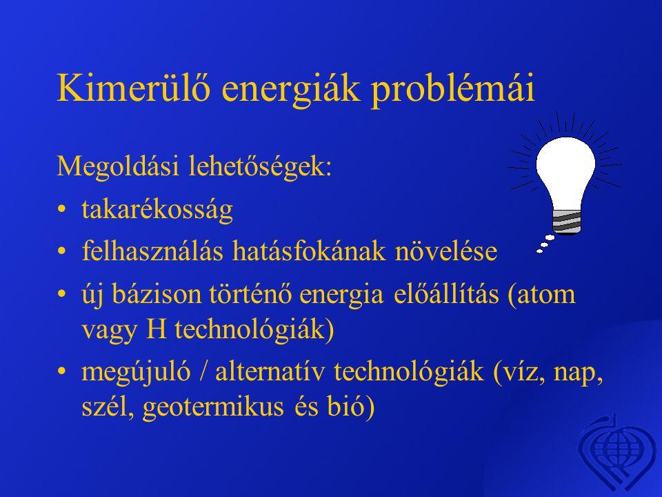 Kimerülő energiák problémái Megoldási lehetőségek: •takarékosság •felhasználás hatásfokának növelése •új bázison történő energia előállítás (atom vagy H technológiák) •megújuló / alternatív technológiák (víz, nap, szél, geotermikus és bió)
