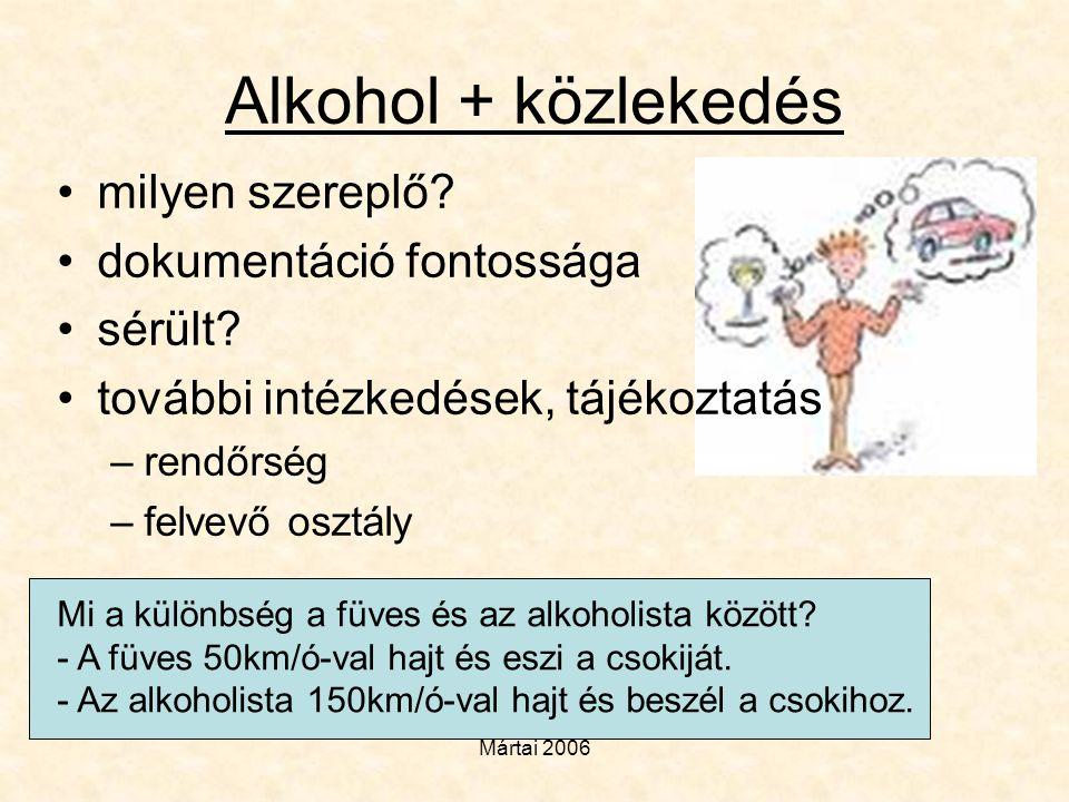 Mártai 2006 Alkohol + közlekedés •milyen szereplő? •dokumentáció fontossága •sérült? •további intézkedések, tájékoztatás –rendőrség –felvevő osztály M