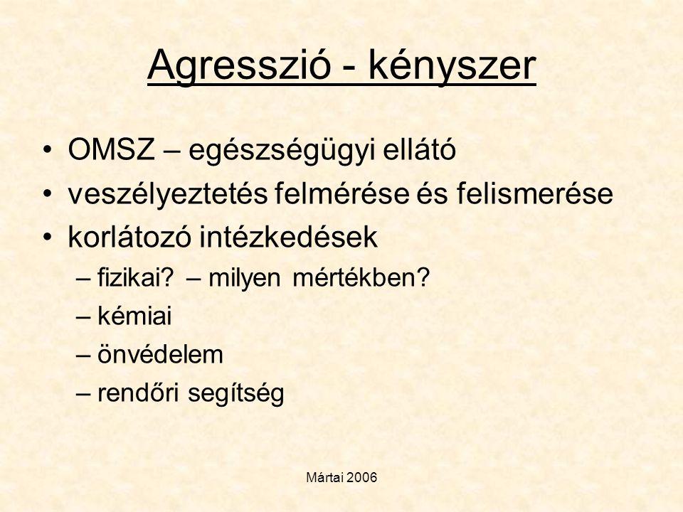 Mártai 2006 Agresszió - kényszer •OMSZ – egészségügyi ellátó •veszélyeztetés felmérése és felismerése •korlátozó intézkedések –fizikai? – milyen mérté
