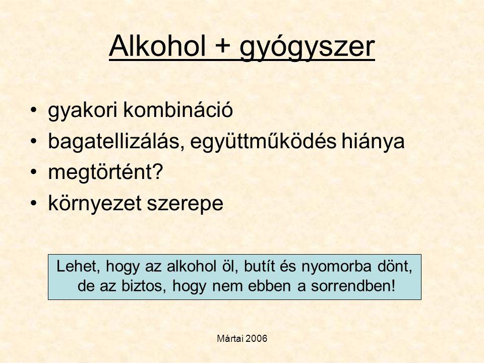 Mártai 2006 Alkohol + gyógyszer •gyakori kombináció •bagatellizálás, együttműködés hiánya •megtörtént? •környezet szerepe Lehet, hogy az alkohol öl, b
