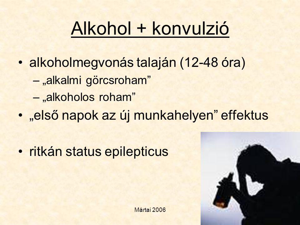 """Mártai 2006 Alkohol + konvulzió •alkoholmegvonás talaján (12-48 óra) –""""alkalmi görcsroham"""" –""""alkoholos roham"""" •""""első napok az új munkahelyen"""" effektus"""