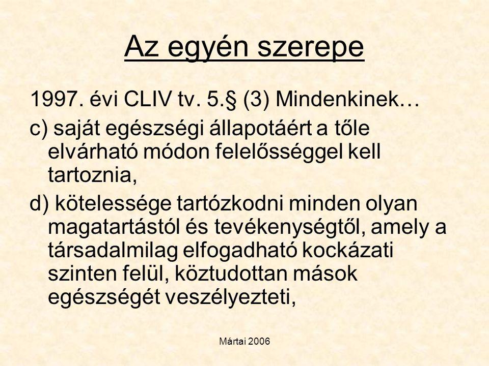 Mártai 2006 Az egyén szerepe 1997. évi CLIV tv. 5.§ (3) Mindenkinek… c) saját egészségi állapotáért a tőle elvárható módon felelősséggel kell tartozni