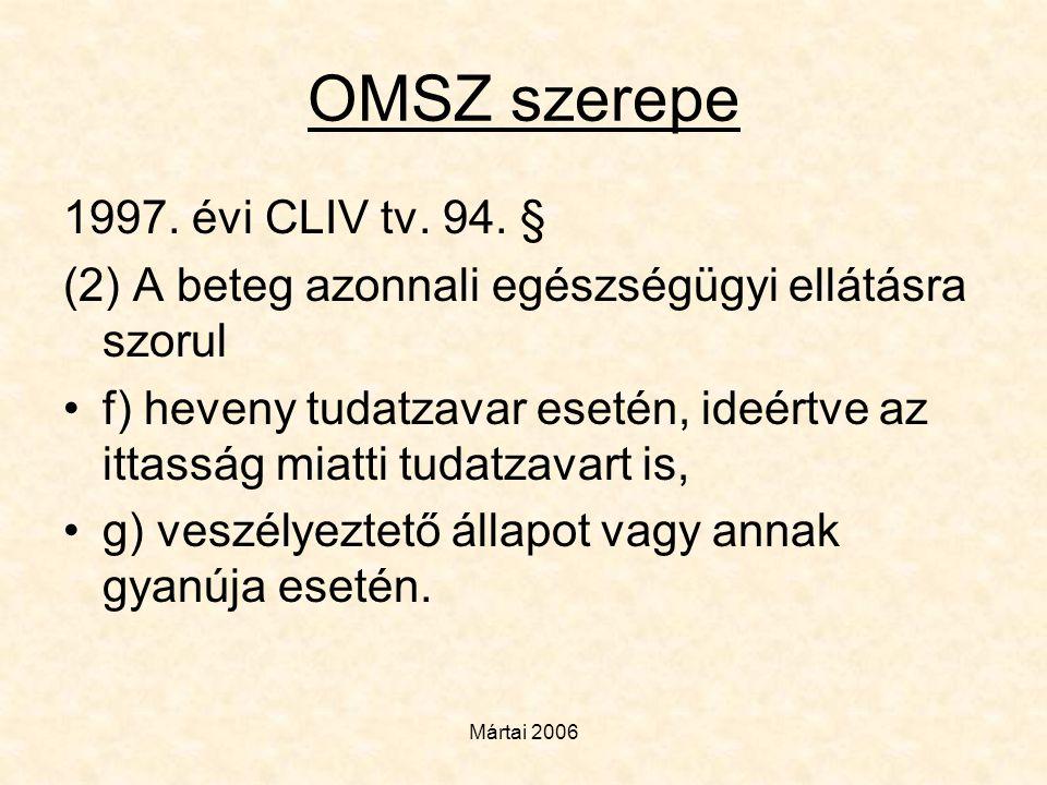Mártai 2006 OMSZ szerepe 1997. évi CLIV tv. 94. § (2) A beteg azonnali egészségügyi ellátásra szorul •f) heveny tudatzavar esetén, ideértve az ittassá