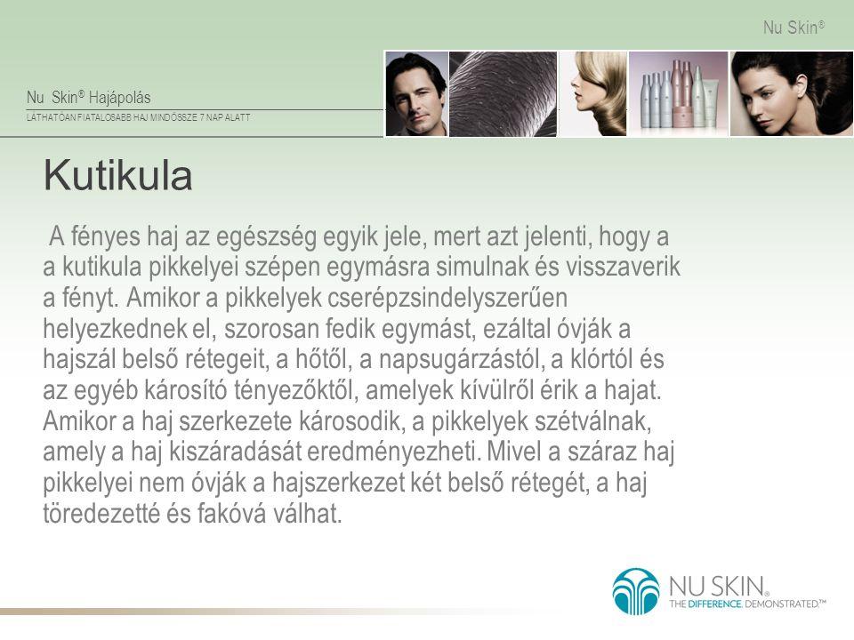 Nu Skin ® Hajápolás LÁTHATÓAN FIATALOSABB HAJ MINDÖSSZE 7 NAP ALATT Nu Skin ® Kutikula A fényes haj az egészség egyik jele, mert azt jelenti, hogy a a