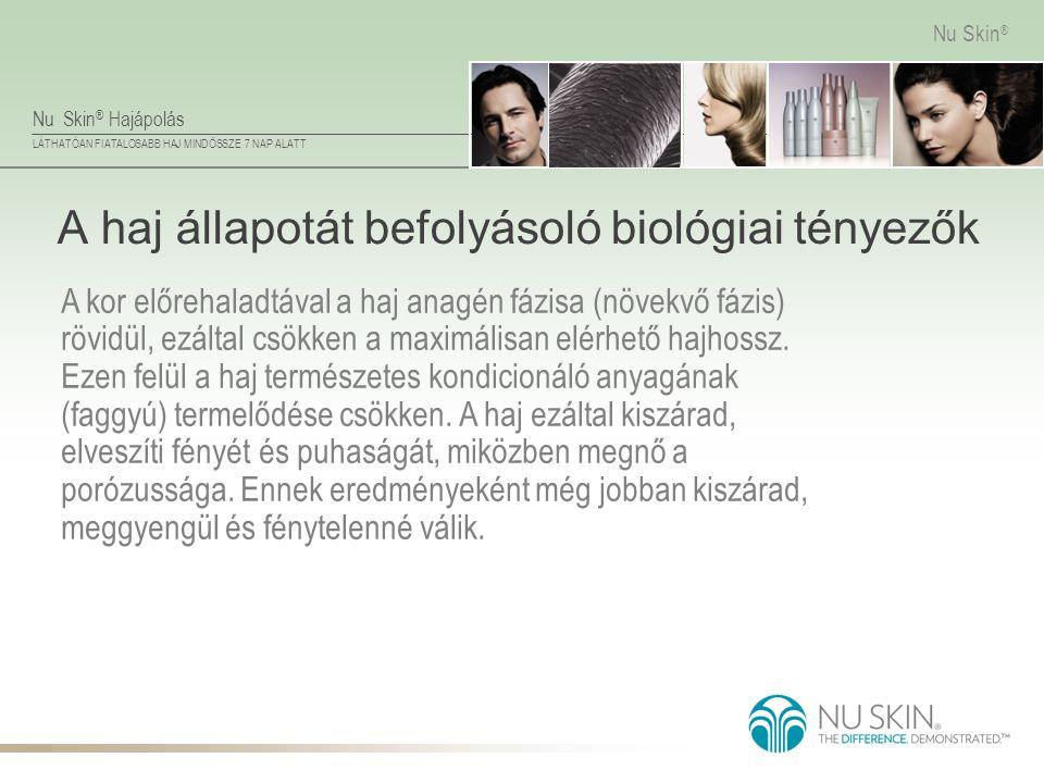 Nu Skin ® Hajápolás LÁTHATÓAN FIATALOSABB HAJ MINDÖSSZE 7 NAP ALATT Nu Skin ® A haj állapotát befolyásoló biológiai tényezők A kor előrehaladtával a h