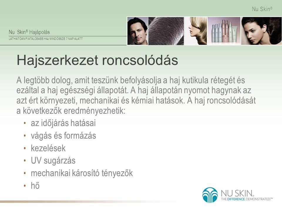 Nu Skin ® Hajápolás LÁTHATÓAN FIATALOSABB HAJ MINDÖSSZE 7 NAP ALATT Nu Skin ® Hajszerkezet roncsolódás A legtöbb dolog, amit teszünk befolyásolja a ha