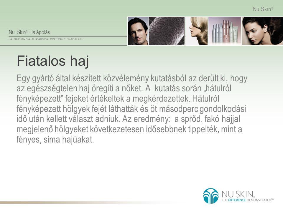Nu Skin ® Hajápolás LÁTHATÓAN FIATALOSABB HAJ MINDÖSSZE 7 NAP ALATT Nu Skin ® Fiatalos haj Egy gyártó által készített közvélemény kutatásból az derült