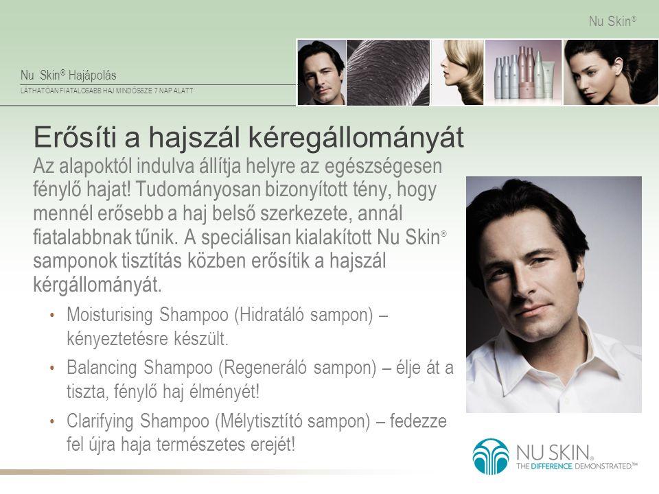 Nu Skin ® Hajápolás LÁTHATÓAN FIATALOSABB HAJ MINDÖSSZE 7 NAP ALATT Nu Skin ® Erősíti a hajszál kéregállományát Az alapoktól indulva állítja helyre az