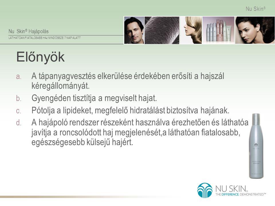 Nu Skin ® Hajápolás LÁTHATÓAN FIATALOSABB HAJ MINDÖSSZE 7 NAP ALATT Nu Skin ® Előnyök a. A tápanyagvesztés elkerülése érdekében erősíti a hajszál kére