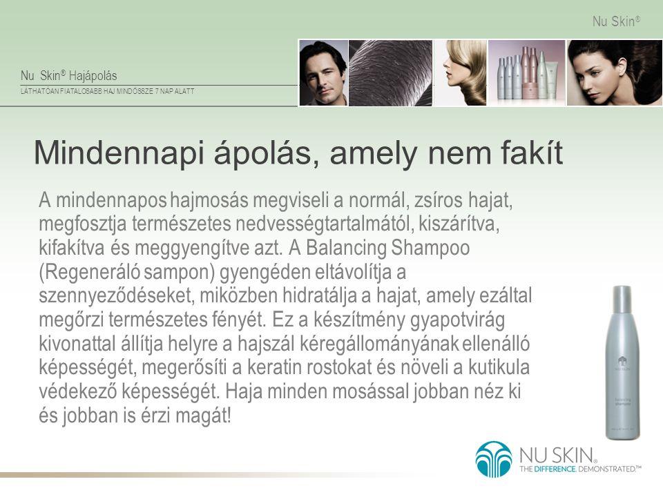Nu Skin ® Hajápolás LÁTHATÓAN FIATALOSABB HAJ MINDÖSSZE 7 NAP ALATT Nu Skin ® Mindennapi ápolás, amely nem fakít A mindennapos hajmosás megviseli a no