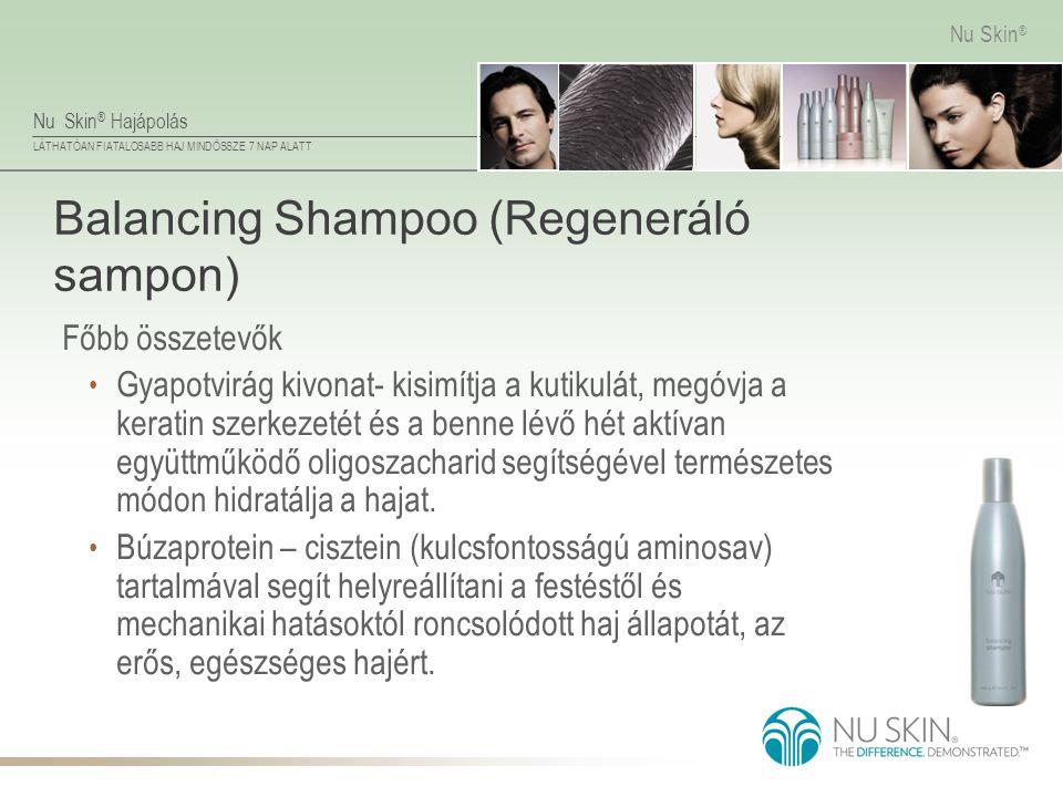 Nu Skin ® Hajápolás LÁTHATÓAN FIATALOSABB HAJ MINDÖSSZE 7 NAP ALATT Nu Skin ® Balancing Shampoo (Regeneráló sampon) Főbb összetevők • Gyapotvirág kivo