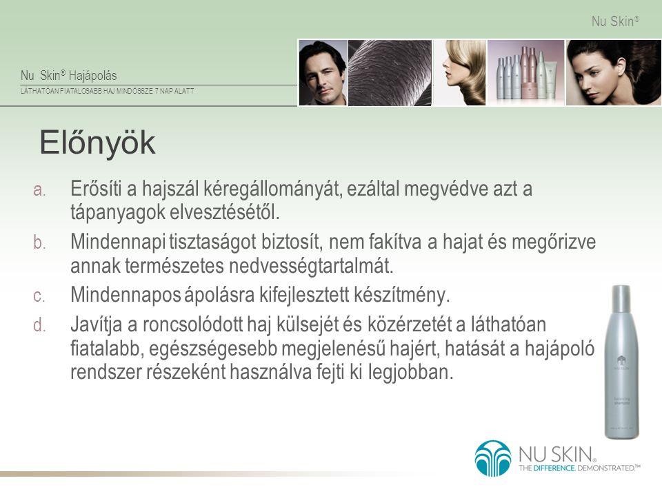 Nu Skin ® Hajápolás LÁTHATÓAN FIATALOSABB HAJ MINDÖSSZE 7 NAP ALATT Nu Skin ® Előnyök a. Erősíti a hajszál kéregállományát, ezáltal megvédve azt a táp