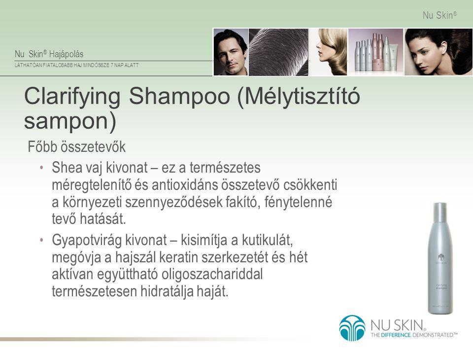 Nu Skin ® Hajápolás LÁTHATÓAN FIATALOSABB HAJ MINDÖSSZE 7 NAP ALATT Nu Skin ® Clarifying Shampoo (Mélytisztító sampon) Főbb összetevők • Shea vaj kivo