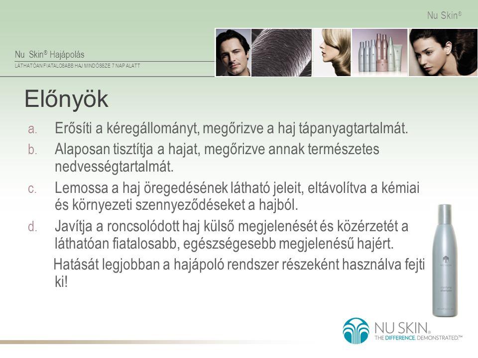 Nu Skin ® Hajápolás LÁTHATÓAN FIATALOSABB HAJ MINDÖSSZE 7 NAP ALATT Nu Skin ® Előnyök a. Erősíti a kéregállományt, megőrizve a haj tápanyagtartalmát.