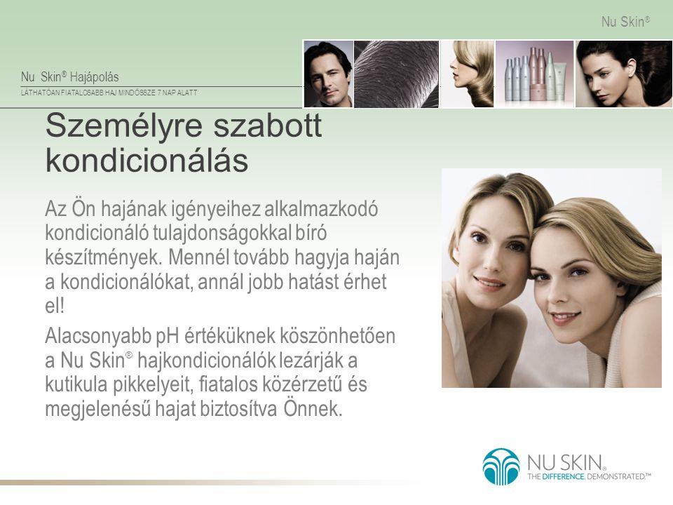 Nu Skin ® Hajápolás LÁTHATÓAN FIATALOSABB HAJ MINDÖSSZE 7 NAP ALATT Nu Skin ® Személyre szabott kondicionálás Az Ön hajának igényeihez alkalmazkodó ko