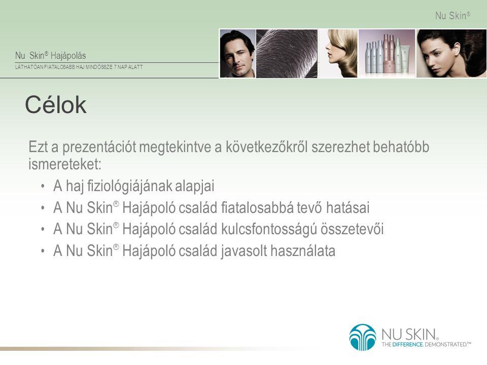 Nu Skin ® Hajápolás LÁTHATÓAN FIATALOSABB HAJ MINDÖSSZE 7 NAP ALATT Nu Skin ® Célok Ezt a prezentációt megtekintve a következőkről szerezhet behatóbb