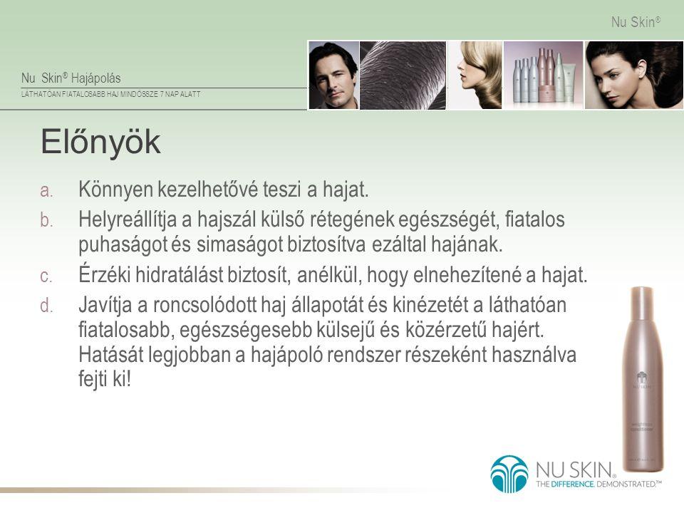Nu Skin ® Hajápolás LÁTHATÓAN FIATALOSABB HAJ MINDÖSSZE 7 NAP ALATT Nu Skin ® Előnyök a. Könnyen kezelhetővé teszi a hajat. b. Helyreállítja a hajszál