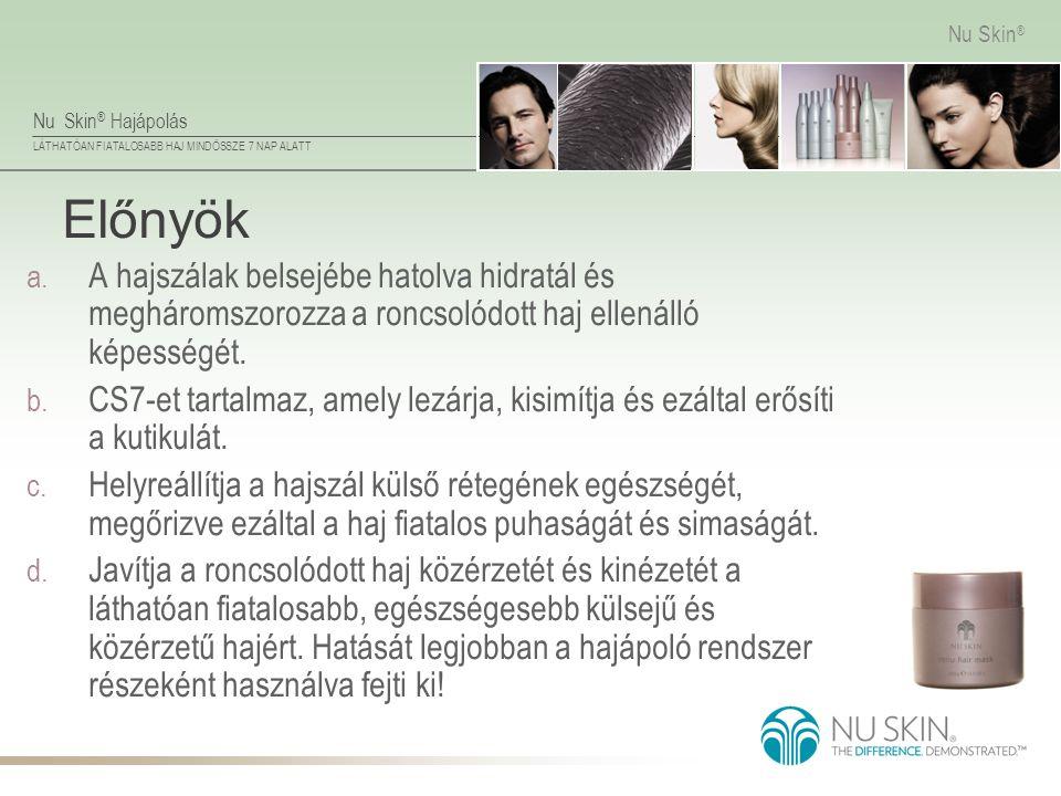 Nu Skin ® Hajápolás LÁTHATÓAN FIATALOSABB HAJ MINDÖSSZE 7 NAP ALATT Nu Skin ® Előnyök a. A hajszálak belsejébe hatolva hidratál és megháromszorozza a
