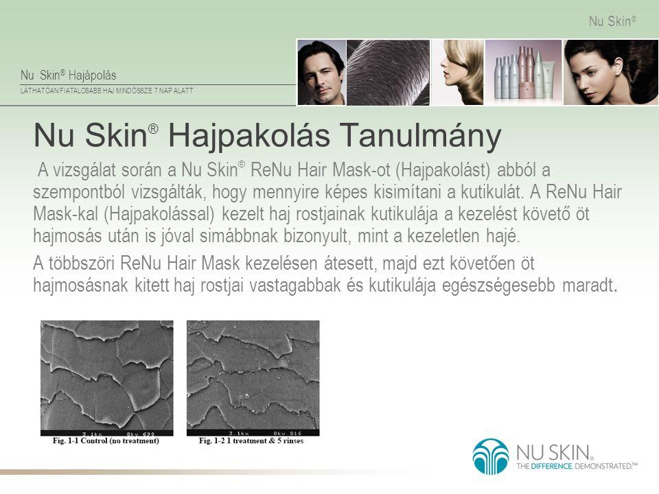 Nu Skin ® Hajápolás LÁTHATÓAN FIATALOSABB HAJ MINDÖSSZE 7 NAP ALATT Nu Skin ® Nu Skin ® Hajpakolás Tanulmány A vizsgálat során a Nu Skin ® ReNu Hair M